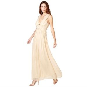 Nasty Gal Blush Deep V Ruched Maxi Dress Sz L